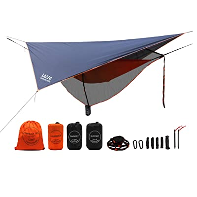 LAZZO Camping Hammock Set All-Inclusive,Single Hammock, Net,Tarp,Suspension,Stakes,Backpack, Perfect for Backpacking,Camping,Hiking & Yard (Orange, 9.2),: Sports & Outdoors