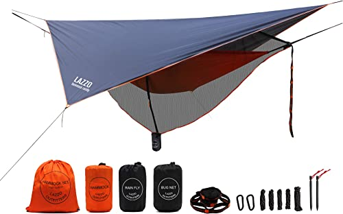 LAZZO Camping Hammock Bundle Includes Net, Tarp, Tree Straps, Backpack Weighs 4 Pounds, Perfect for Hammock Camping,Backpacking Hiking Lightweight Nylon Single Hammock