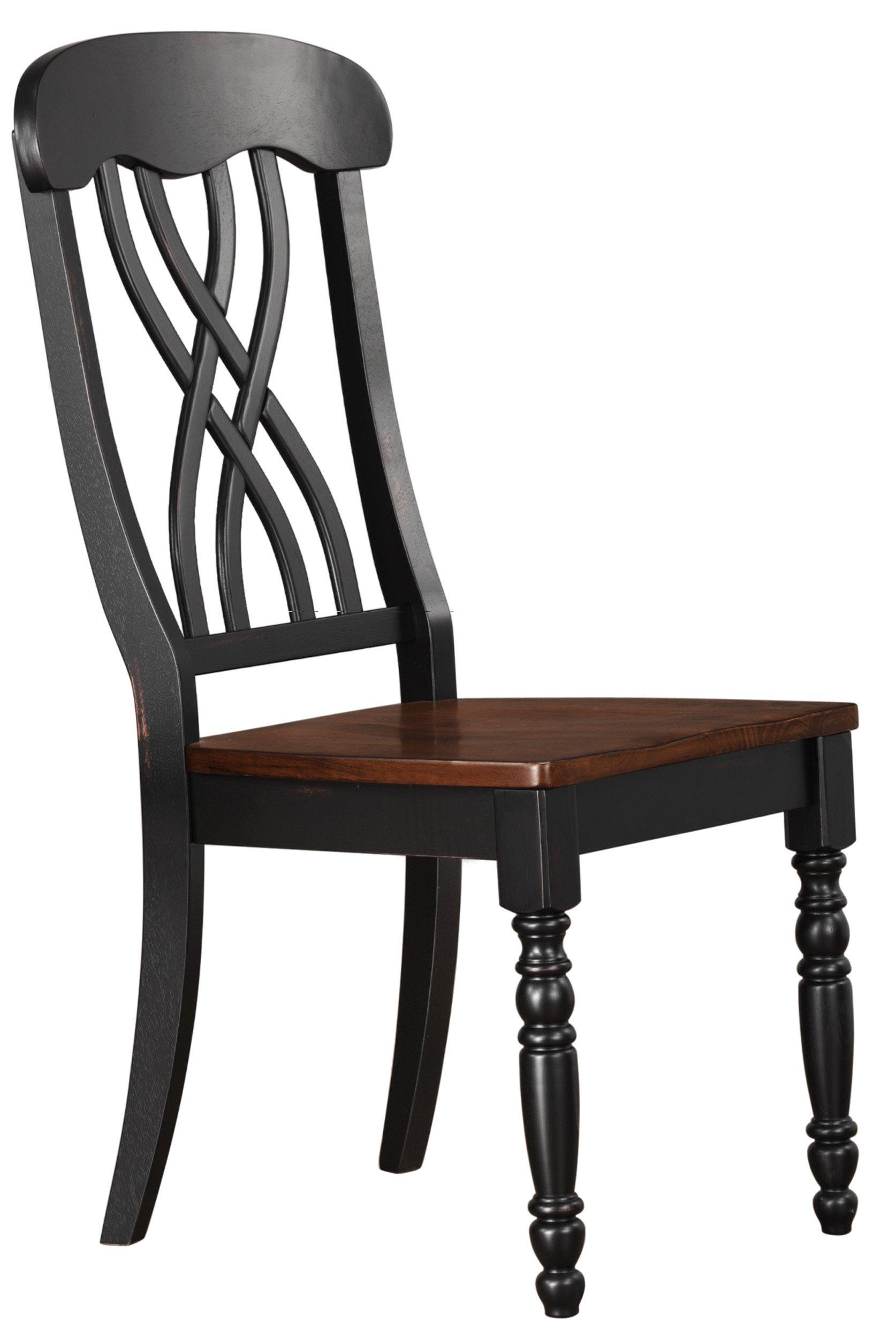 Homelegance Ohana 2 Piece Pack Causal Dining Chairs, Black & Cherry