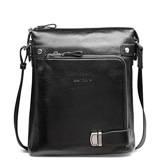 Mens Genuine Real Leather Sling Messenger Shoulder Satchel Cross Body School Bag