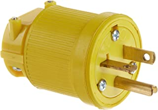 product image for KH Industries P620DF Rubber/Polycarbonate Rewireable Flip Seal Straight Blade Plug, 2 Pole/3 Wire, 20 amps, 250V AC, Yellow