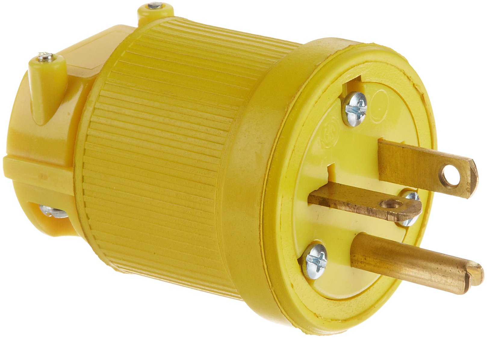 KH Industries P620DF Rubber/Polycarbonate Rewireable Flip Seal Straight Blade Plug, 2 Pole/3 Wire, 20 amps, 250V AC, Yellow by KH Industries