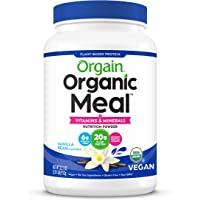 Orgain Organic Plant Based Meal Replacement Powder, Vanilla Bean - 20g Protein, Vegan, Dairy Free, Gluten Free, Lactose…