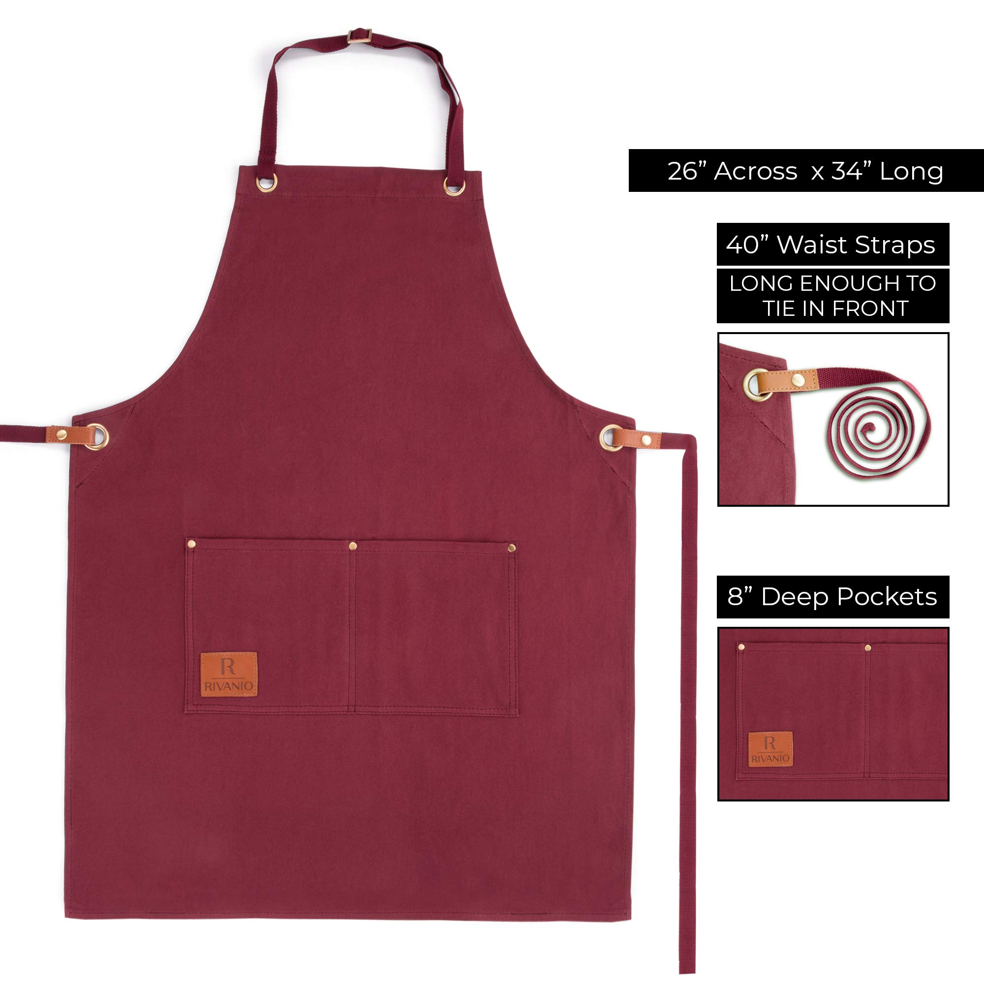 Rivanio Canvas Cooking Apron, Long with Large Pockets - Kitchen, Shop, Grilling, Workshop Aprons for Men and Women - Adjustable Neck and Waist Straps - Stylish, Professional, Lightweight Bibs by Rivanio (Image #3)