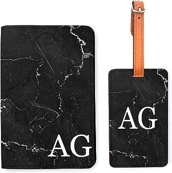 Personalised 9 Printed Passport Cover /& Luggage Tag Marbled Ink Monogram