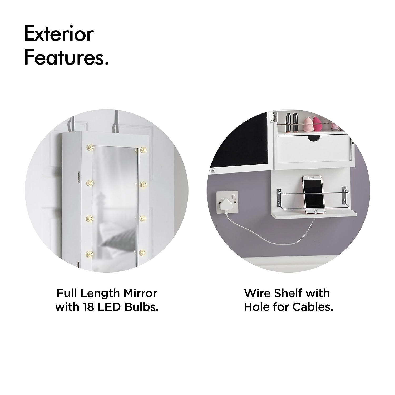 Beautify Schmuckschrank mit LED-Beleuchtung Touchscreen LED Schlafzimmermöbel Freistehendes Schränkchen mit Spiegel Schublade /& Aufbewahrungsmöglichkeiten für Schmuck
