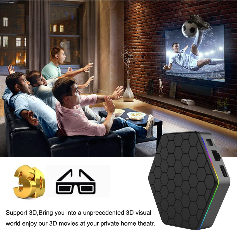 EASYTONE T95Z PLUS Android TV Box,Octa Core Smart TV Box 2GB RAM 16GB ROM Android 7.1 Amlogic S912 Support 2.4G/5G Dual Wifi/1000M LAN/BT 4.0/4K Resolution/3D TV Boxes with Mini Wireless Keyboard by EASYTONE (Image #4)