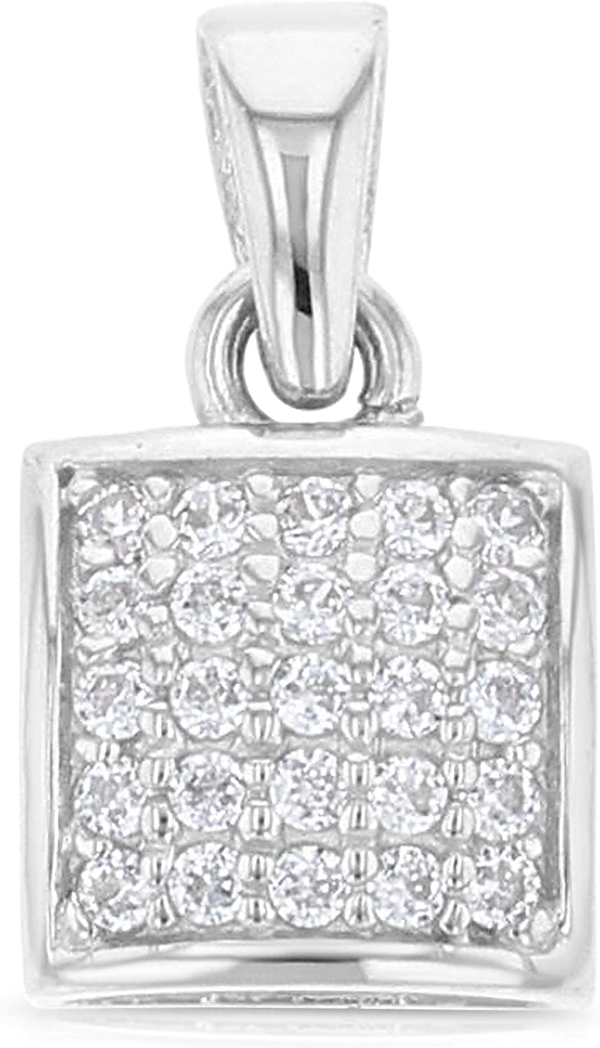 Ioka 14K Yellow Gold OR White Gold 7mm Fancy Rounded Square Cubic Zirconia CZ Charm Pendant For Necklace OR Chain IG-01-100-0688W