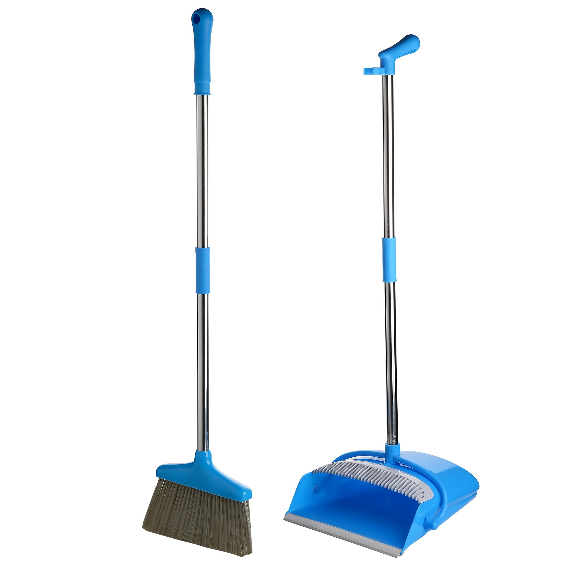 Broom and Dustpan Set for Office and Home Standing Upright Sweep Use Long Handle Dustpan and Lobby Broom for Office and Home Sweep Quick Sweeping Standing Sweep Set with Broom (Blue)