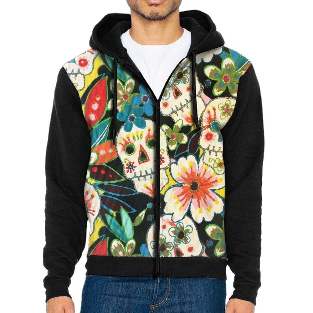 Futong Huaxia Sugar Skull Cool Men Zipper Hoodie Sweatshirt Sportswear Jackets With Pockets Black