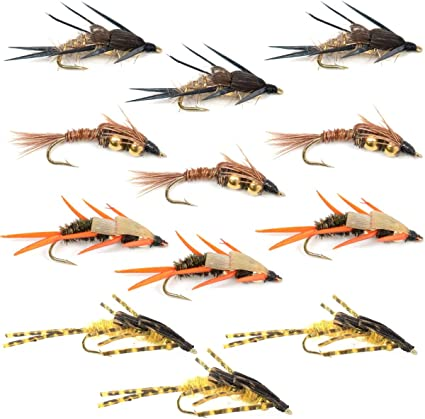 Trout Flies Fishing Flies Weighted Czech Nymphs Hooks 10 12 14 Nymph Fly x 9