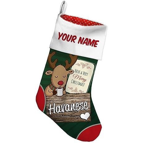 Amazon.com: Christmas Stocking Havanese, Dog Breed Deer with Green ...