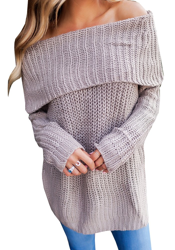 Imysty Womens Off The Shoulder Sweater Pullover Oversized Knitted Long Sleeve Jumper