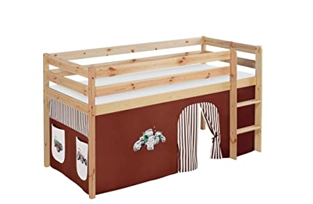 Etagenbett Hochbett Spielbett Kinderbett Jelle 90x200cm Vorhang : Lilokids spielbett jelle trecker hochbett mit vorhang kinderbett