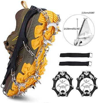Ice Snow Climbing Shoe Spike Grip Boot Chain Crampon Grippers 6 Teeth Studs