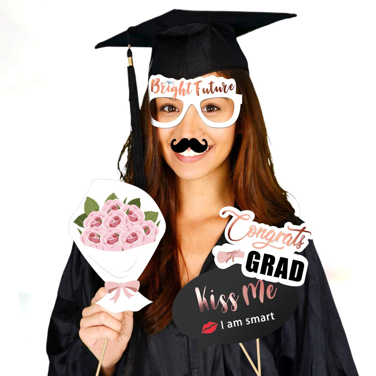 Konsait 39pcs Rose Gold Graduation Photo Booth Props Party Supplies Class of 2019 Graduation Party Decoration Graduation Party Favors Accessories