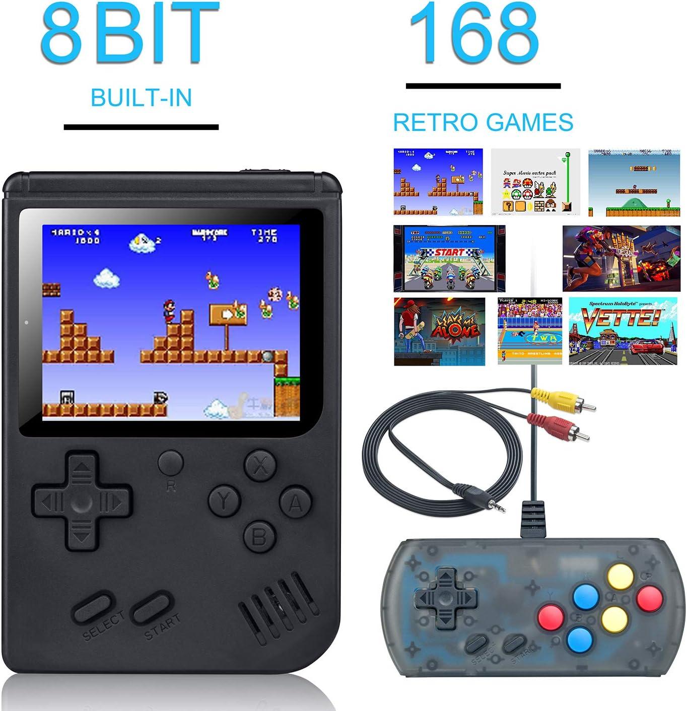 weikin Consola de Juegos Portátil, 3 Pulgadas Consola de Juegos portátil Pantalla HD Consola de Juegos Retro con 168 Juegos, Soporte para conectar TV y Dos Jugadores (L)
