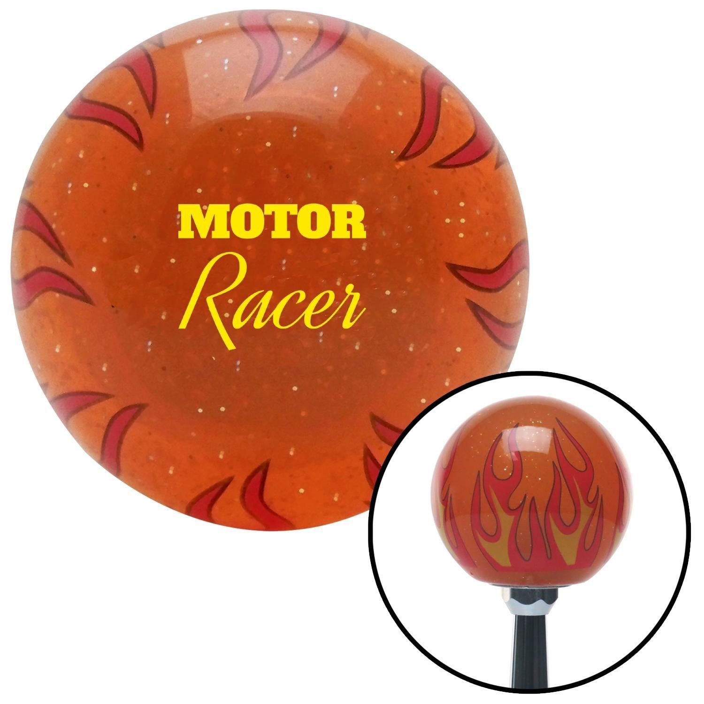 American Shifter 299727 Shift Knob Yellow Motor Racer Orange Flame Metal Flake
