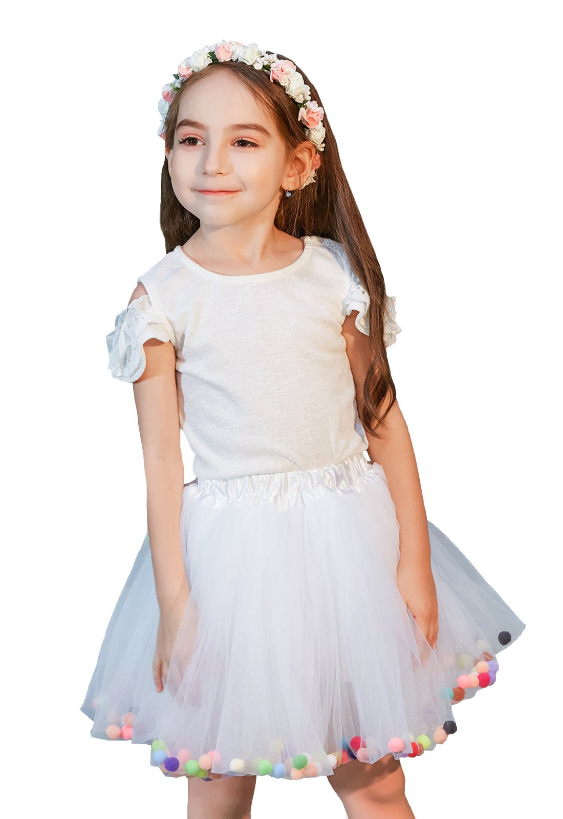Buenos Ninos Girl's 3 Layers Sequin Ballet Dance Skirt with Pom Pom Puff Ball Dress-up Tutu White