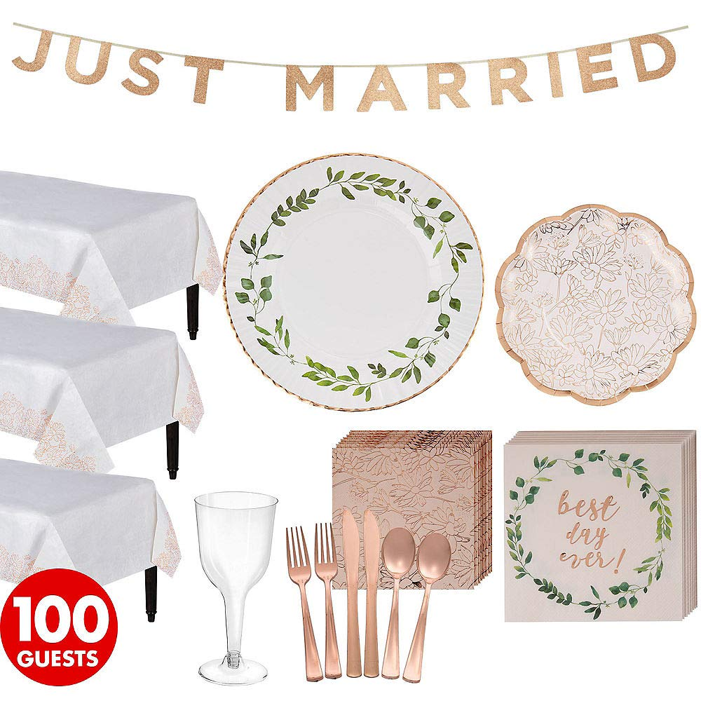 ELEGANI Rose Gold Wedding Party Kit for 100 Guests Wedding Theme