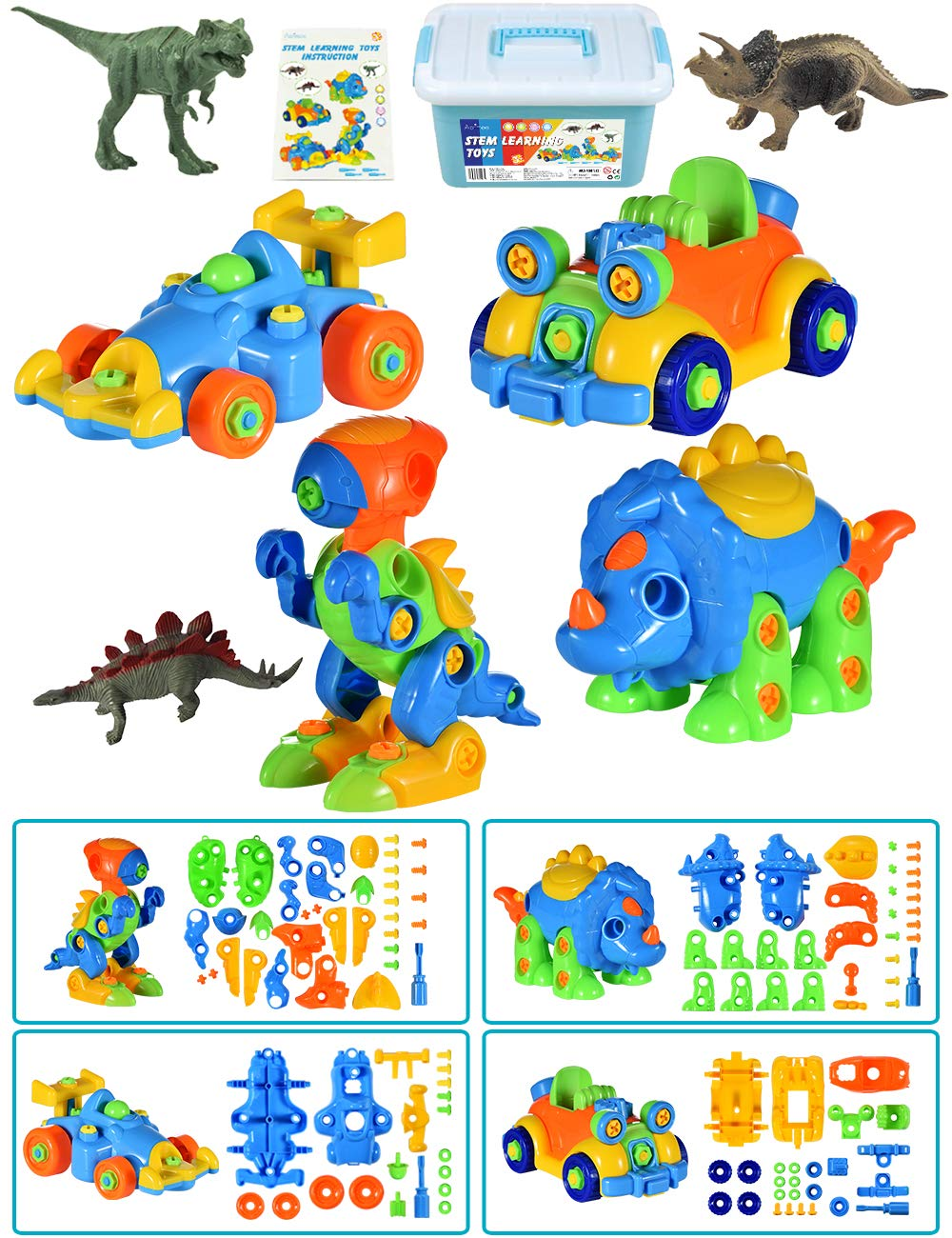 STEM Toys for Toddlers, Take Apart Toys of 2 Dinosaurs and 2 Cars, 3 Dinosaur Model Toys, Preschool Learning Toys for 3-6 Year Old Boys Girls Kids, Educational Gifts for Christmas Birthday, 111 Pieces by Aofmee
