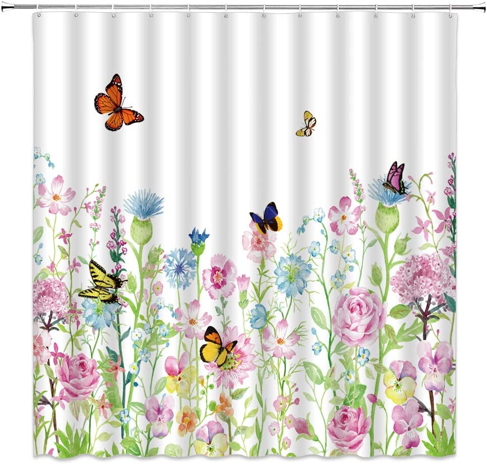 XZMAN Watercolor Floral Shower Curtain Colorful Flowers Butterfly Green Leaves Spring Garden Nature Scenery Farmhouse Country and Rustic Fabric Bathroom Decor 70 x 70 Inches Set Include Hooks