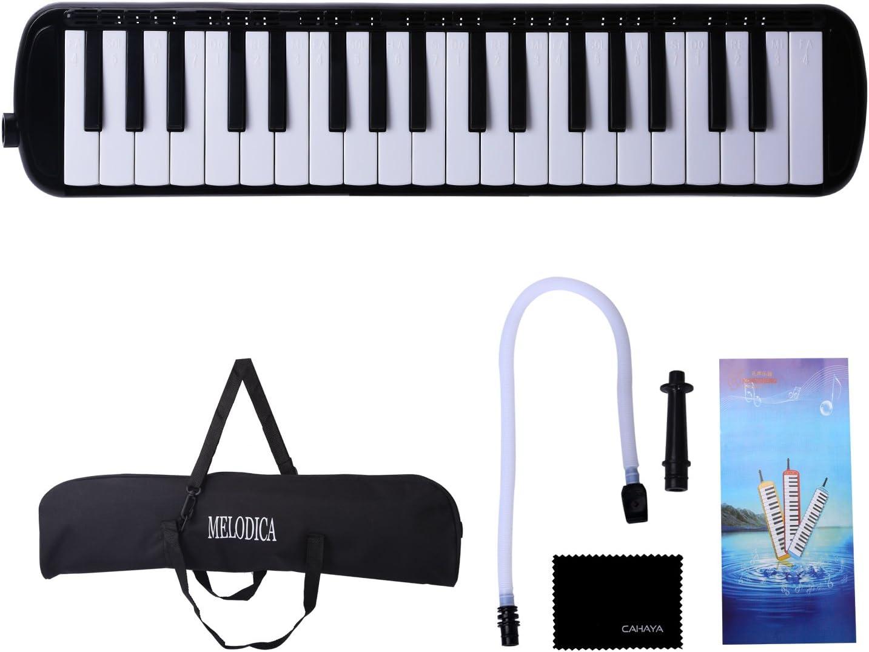 CAHAYA M/élodica 37 Cl/és Pianica avec embout buccal et flexible en plastique flexible /à long tube pour enfants Amateur de musique /étudiant noir