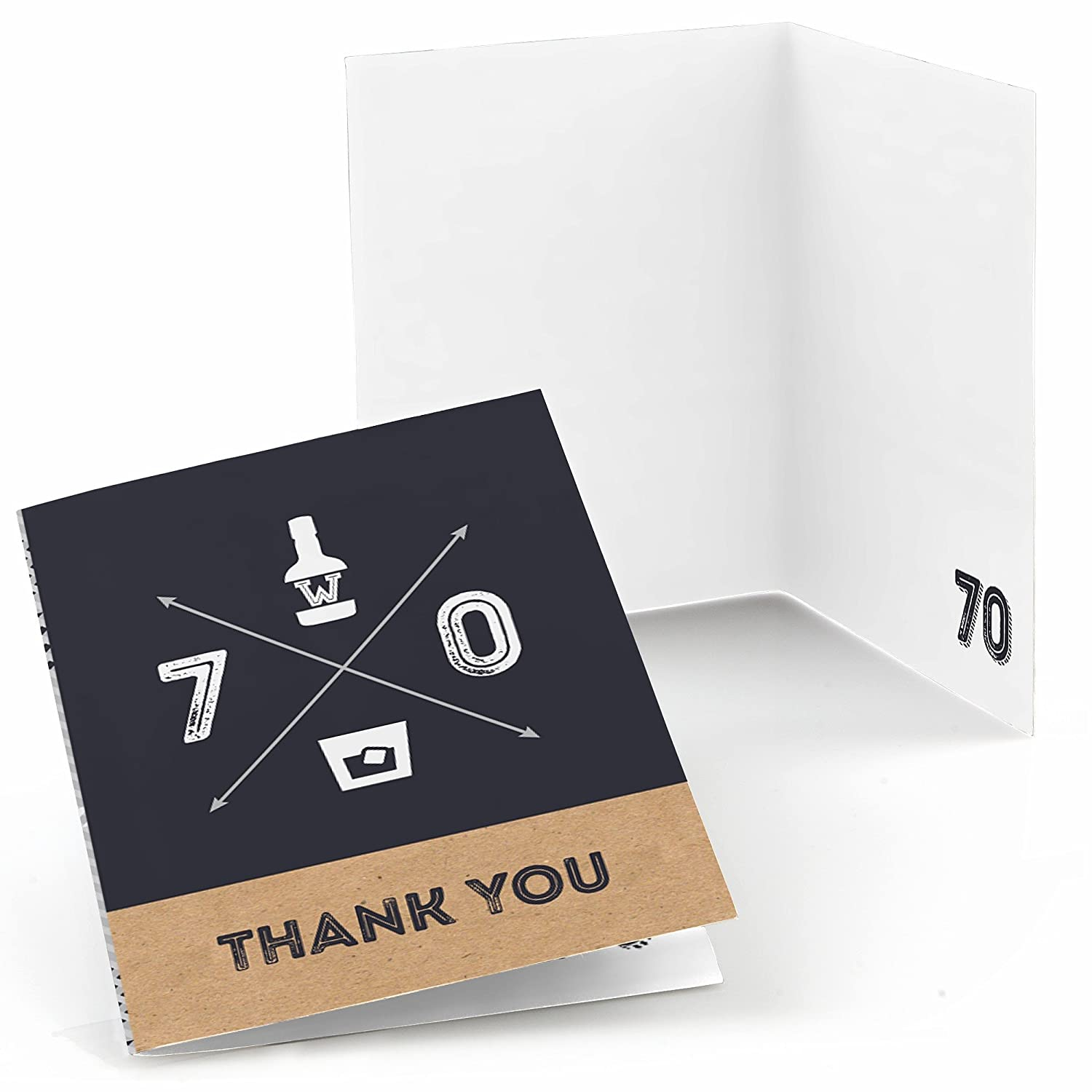 70th Milestone Birthday Dashingly Aged to Perfection Birthday Party Thank You Cards 8 Count