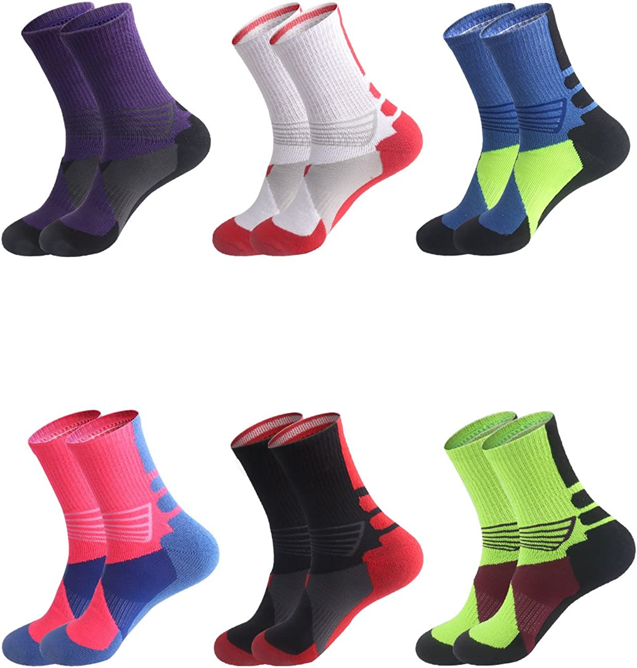 Boys Sock Basketball Soccer Hiking Ski Athletic Outdoor Sports Thick Calf High Crew Socks Multipack