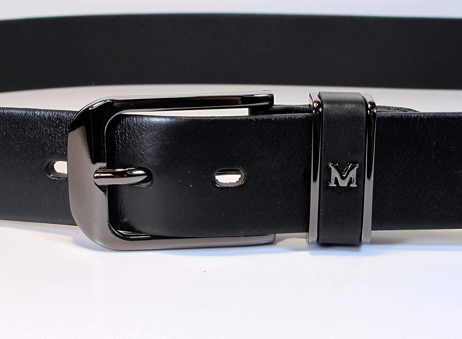 Mens Genuine Leather Black Belt L M S Thick Casual Jeans Dress 1 1//4 Wide UM5