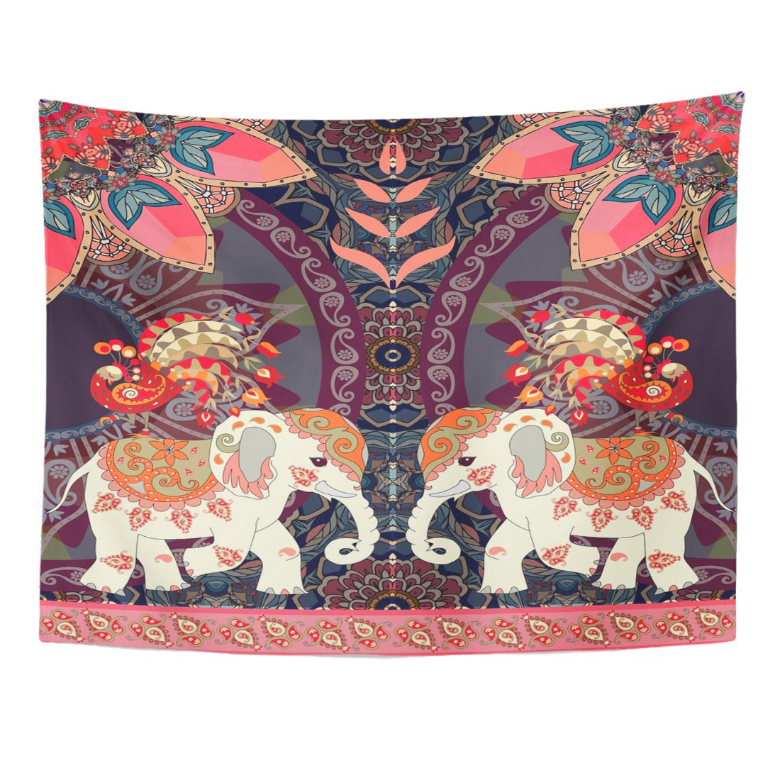 Breezat Tapestry Red Thailand Happy Birthday in Thai Indian Lovely Elephants Peacocks Sun Mandala and Paisley Border Home Decor Wall Hanging for Living Room Bedroom Dorm 60x80 Inches by Breezat