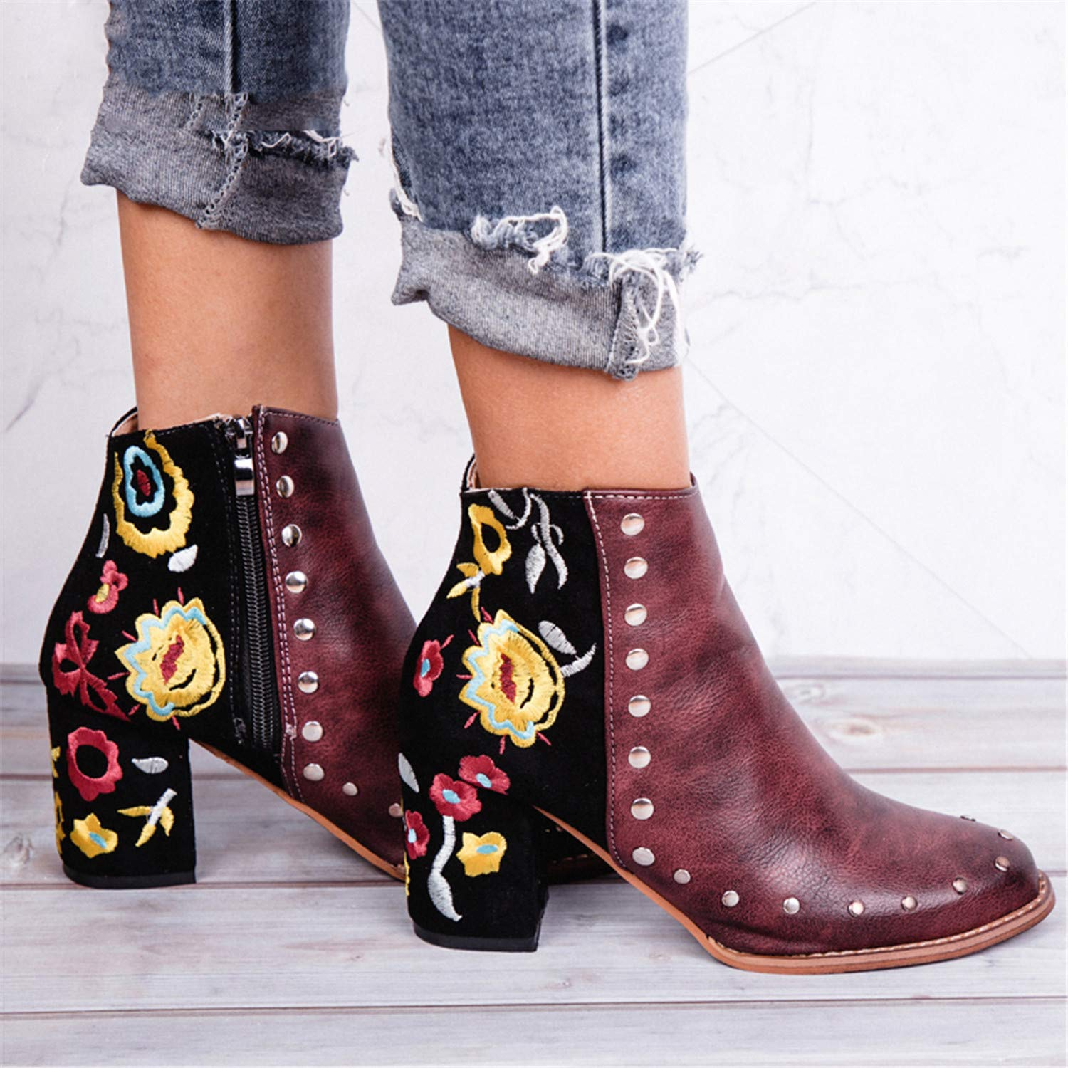 Amazon.com | Susan1999 Women Embroider High Ankle Shoes Boots Wine Red Flock Leather Plus Size Zipper Rivet Flower Shoes | Boots