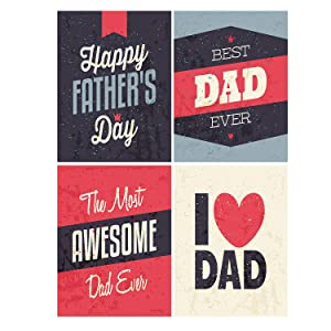 """Wamika Happy Father's Day Vintage Super Dad Double Sided Garden Yard Flag 12"""" x 18"""", Love The Best Awesome Dad Father Decorative Garden Flag Banner for Outdoor Home Decor Party"""