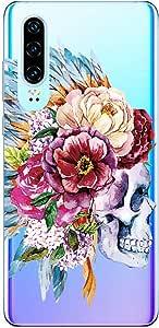 Suhctup Transparente Funda Compatible con Huawei View 10 Lite/Honor 8X,Carcasa Protectora de TPU Ultradelgada Flor y Calavera Diseño Anti-Choques Resistente Case Cover para Huawei Honor 8X(9)