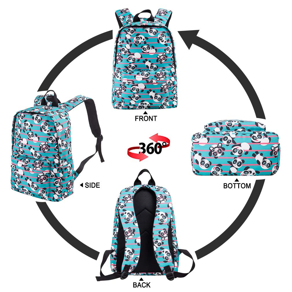 5f70e10a3f45 Cute Panda Backpack for School Lightweight Canvas Bookbags for Girls/Boys  15.6 Inch Turquoise