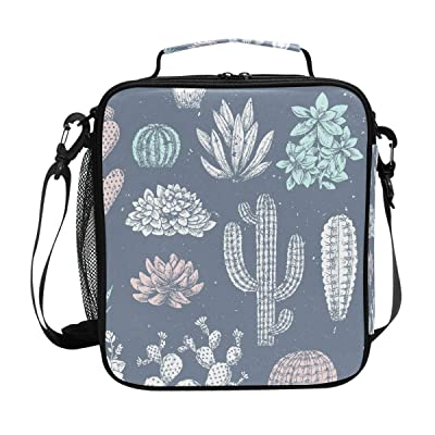 Insulated Lunch Box Succulent With Cactus Large Lunch Bag Warmer Cooler Meal Prep Lunch Tote with Shoulder Strap for Women Boys Girls: Kitchen & Dining [5Bkhe1106254]
