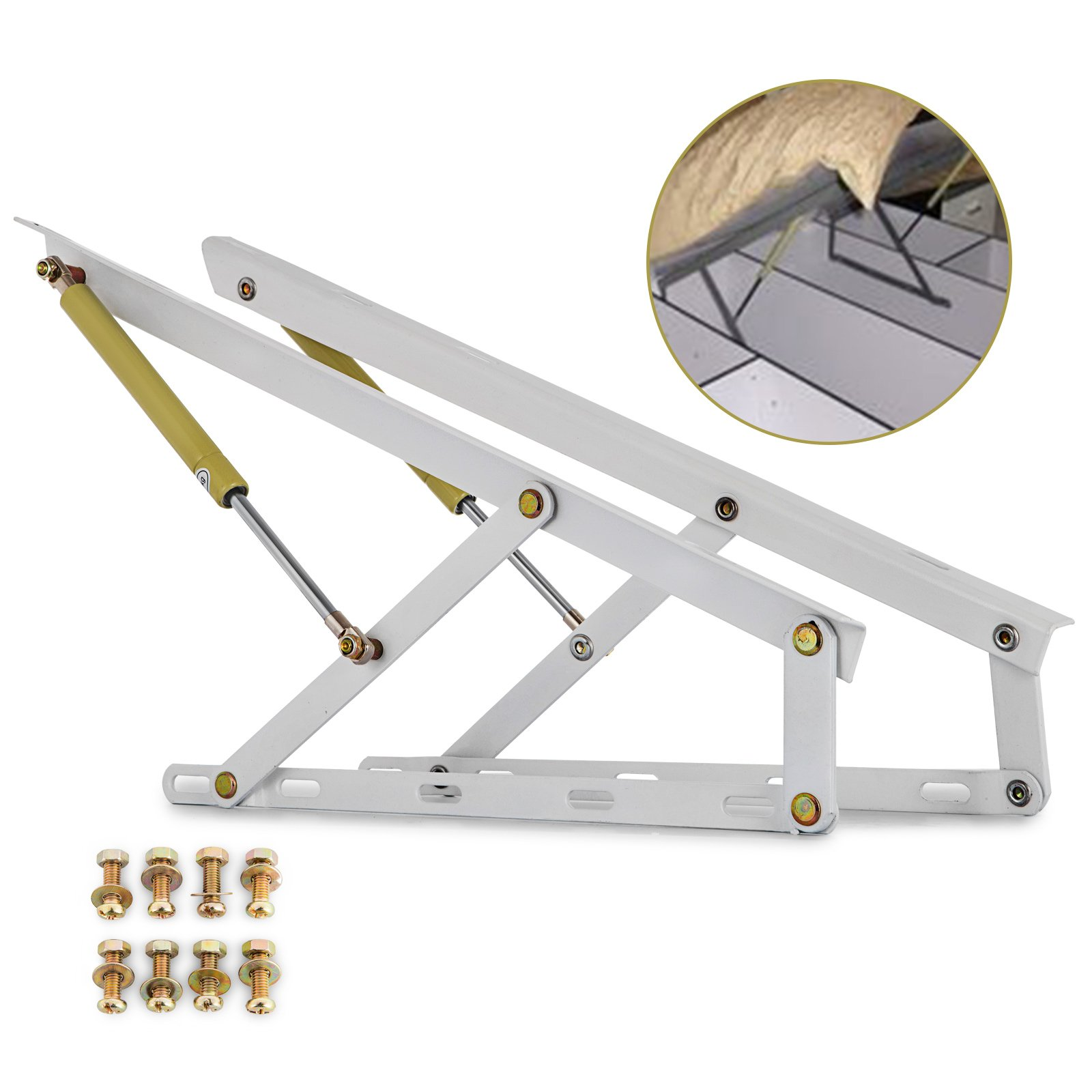 Happybuy Pair 2FT Pneumatic Storage Bed Lift Mechanism Heavy Duty Gas Spring Bed Storage Lift Kit Box Bed Sofa Storage Space Saving DIY Project Lifter Lift up Hardware White (W60)