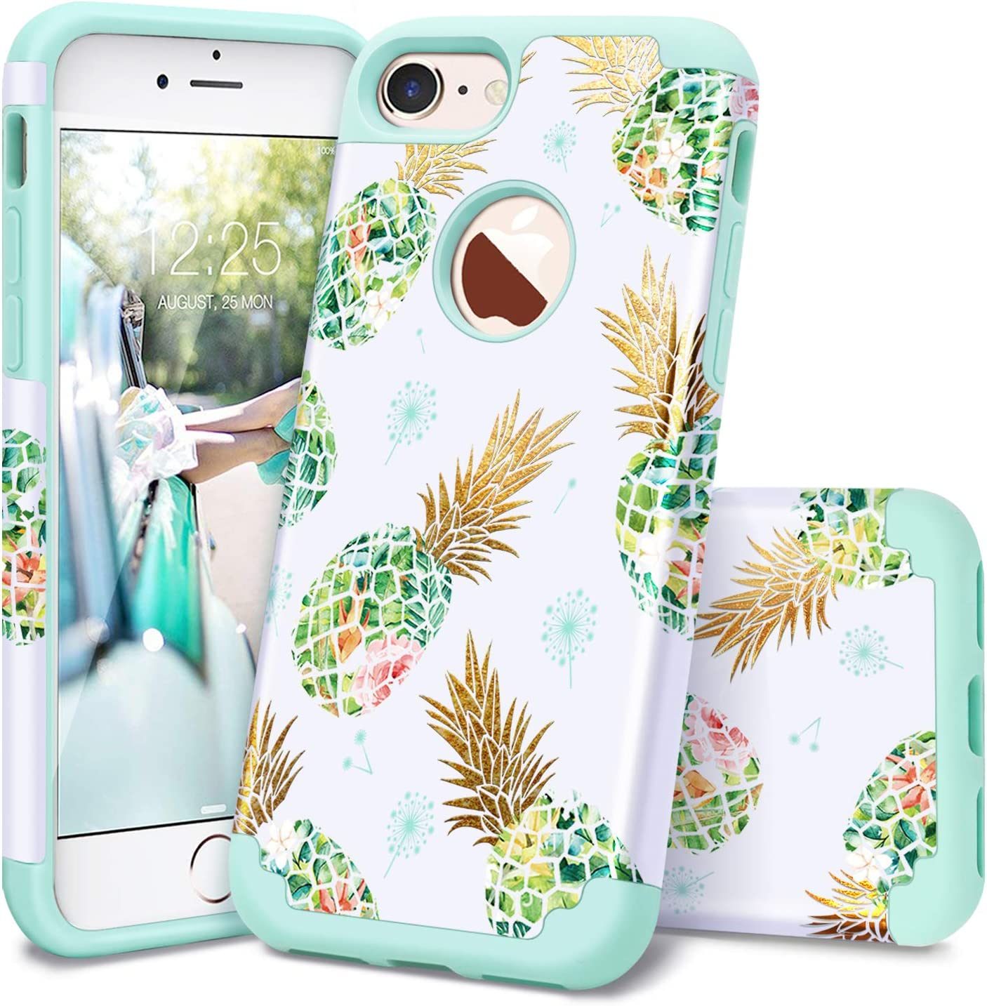 iPhone 7 Case,iPhone 8 Case,Casewind iPhone 7/8 Case Pineapple Slim Fit Hard PC Soft Silicone 2 in 1 Hybrid Protection Shockproof Anti Scratch Rubber Bumper iPhone 7 Phone Case for Girls,Mint Green