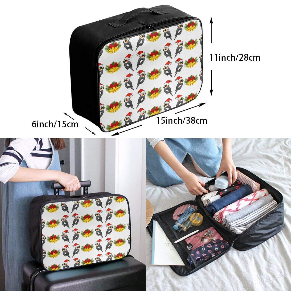 Cute Cockatiel Santa Christman Jingle Travel Duffel Bag Waterproof Fashion Lightweight Large Capacity Portable Luggage Bag
