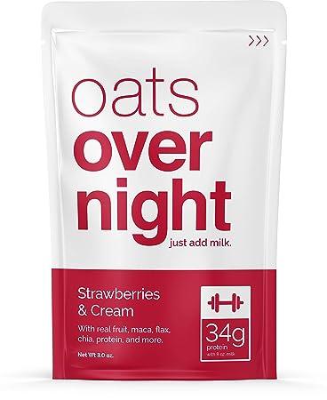 Avena durante la noche – Fresas y crema (3 oz por paquete ...