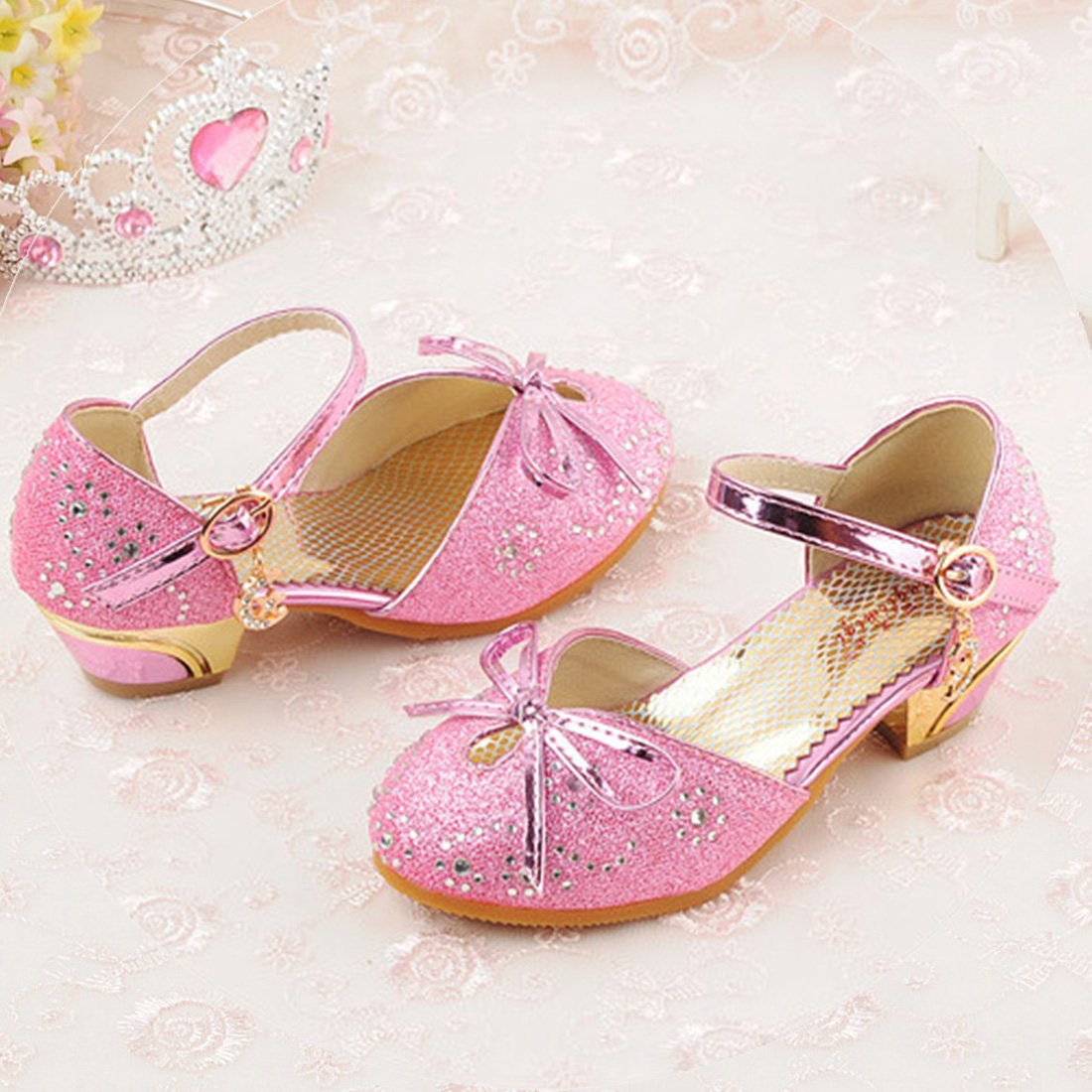 YIBLBOX Girls Kids Toddler Dress up Wedding Cosplay Princess Shoes Glitter Mary Jane Low Heel Shoes by YIBLBOX (Image #3)