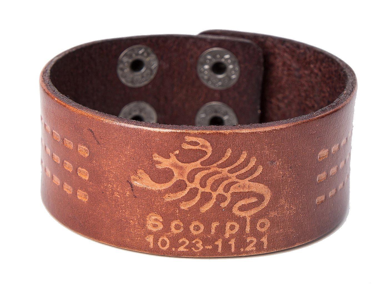 Scorpio Zodiac Signs Leather Bracelet 12 Constellations Bangle Gift Idea for Your Beloved ones YI WU KE JI