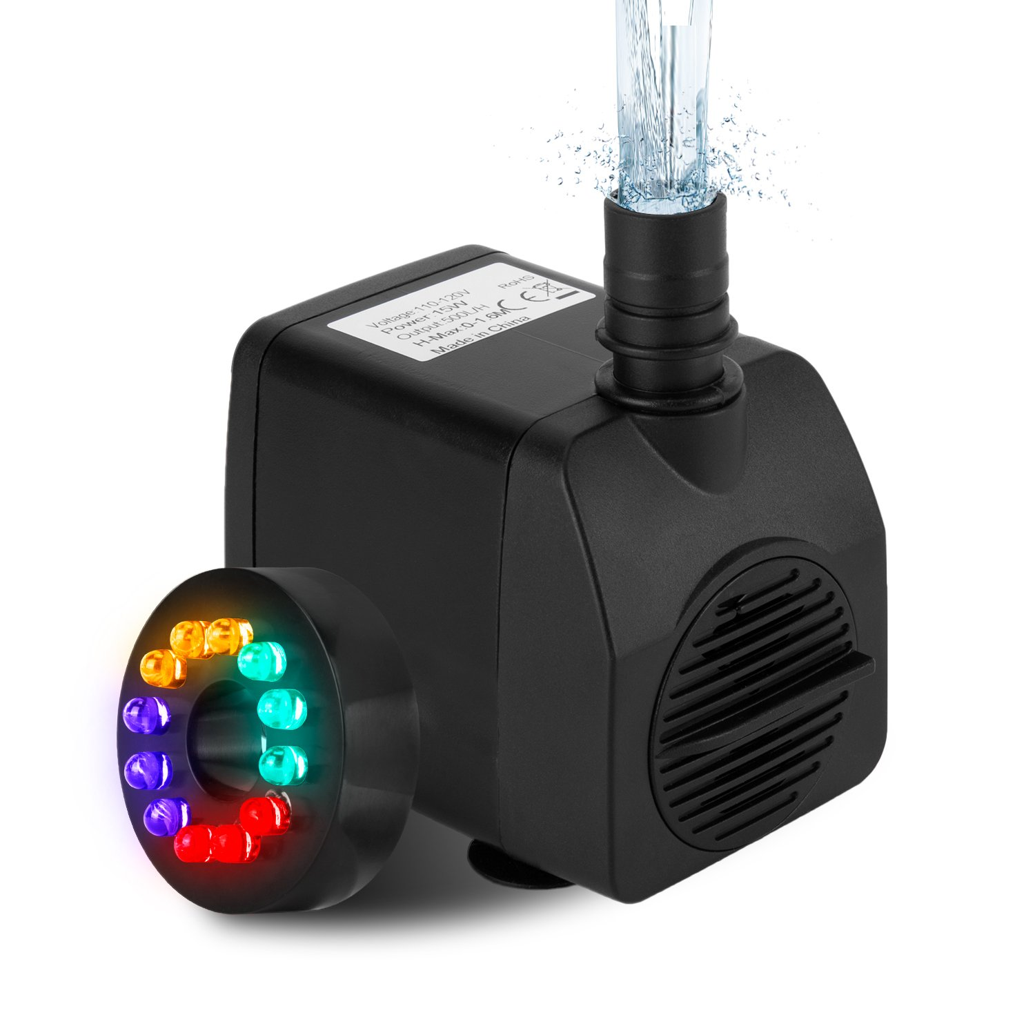 Fannel 220 GPH (800L/H, 15W) Submersible Water Pump for Fish Tank, Aquarium, Fountain, Pond, Small Silent 12 LED Colorful Pump Lights with 2 Nozzles, 6 Feet Power Cord (Black one)