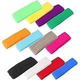 GZYF 12 Colors Sports Sweatbands Terry Cloth Moisture Wicking Athletic Basketball Headbands 12 PCS
