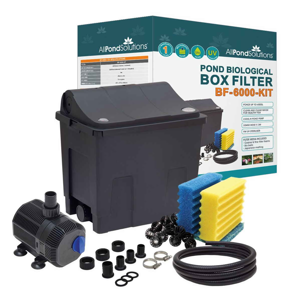 All Pond Solutions Koi/Goldfish Pond Filter Box Full Kit, Small, 9 W BF-6000-KIT