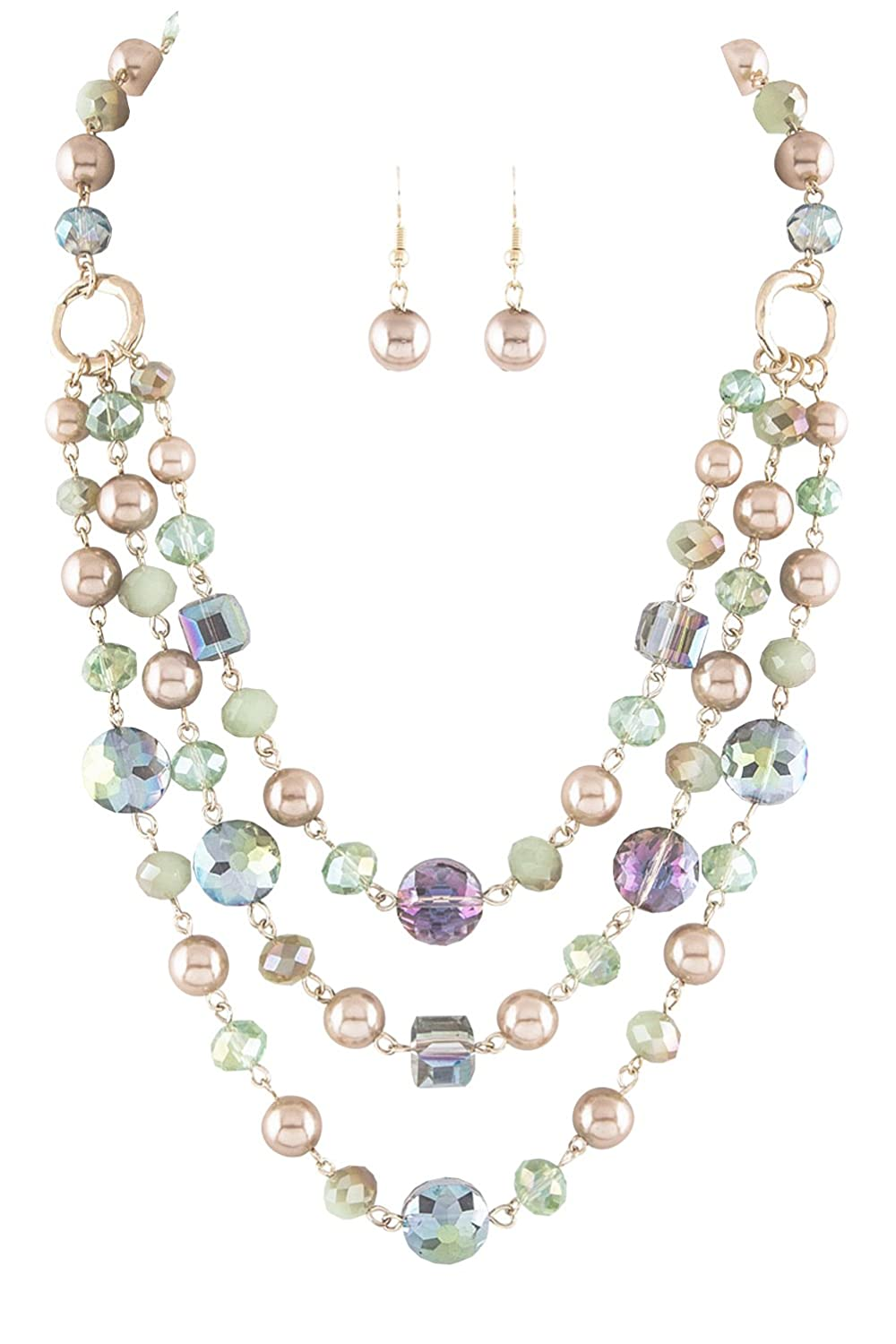 "Vintage Style Jewelry, Retro Jewelry Peachy-Beige Imitation-Pearl Transparent Blue Green & Blue Aurora Borealis Bead Layered Bib Necklace 18"" $24.99 AT vintagedancer.com"