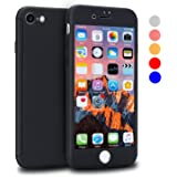 iPhone 7 Case, VANSIN 360 Full Body Protection Hard Slim Case Coated Non Slip Matte Surface with Tempered Glass Screen Protector for Apple iPhone 7 (4.7-inch) - Black