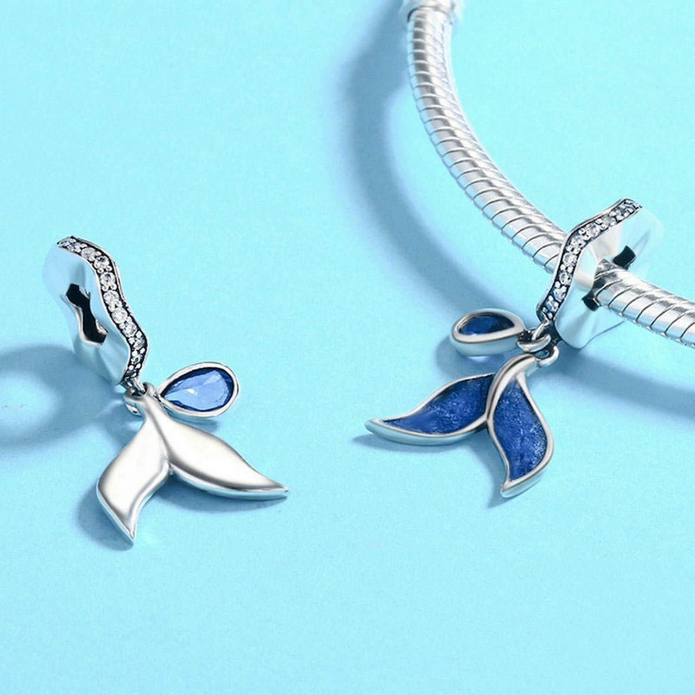 EverReena Beads Charm Mermaid Tail Pendant Dangle for Silver Bracelets