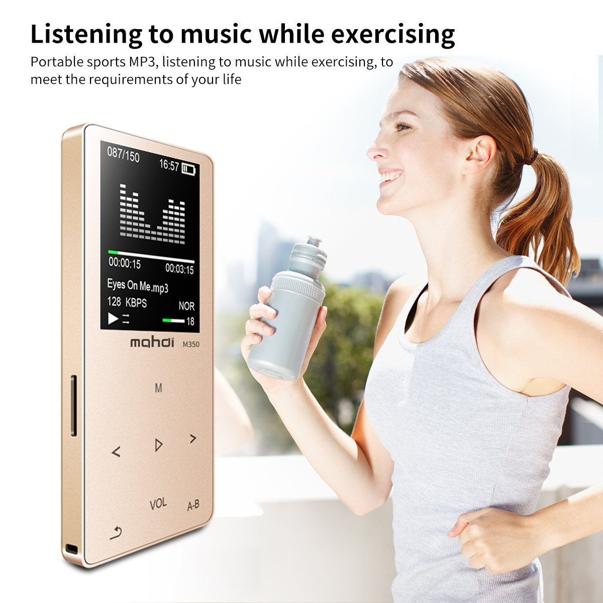 MYMAHDI MP3/MP4 Music Player, 8GB Portable Audio Player with Photo Viewer, Voice Recorder, FM Radio, A-B Playback, E-Book, Metal Body, Build-in Speaker with Headphone(Expandable Up to 128GB), in Gold