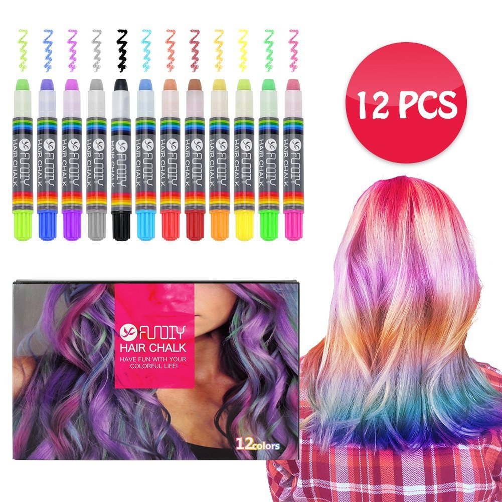 FUNDIY Kids Hair Chalk Set Hair Chalk Pens of 12 Brilliant Colors - Temporary Color Washable and Safe for Children - Good Choice for Party, Halloween, Cosplay, Birthday Gift